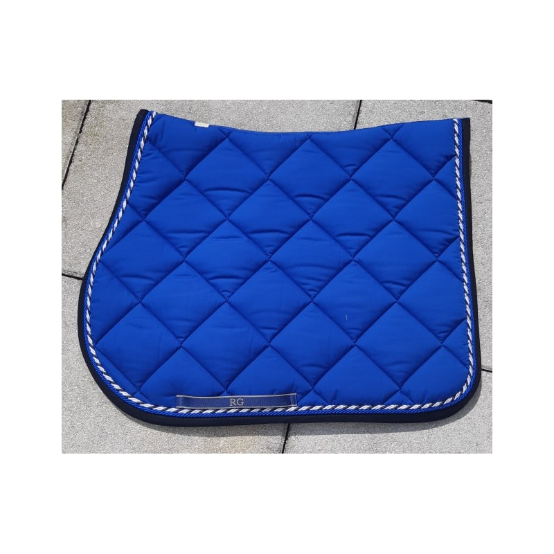 tapis de selle rg italy bleu roi bord noir