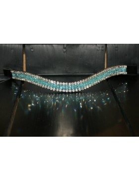Frontal strass blanc et turquoise WW