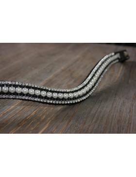Frontal strass blanc, noir et perles