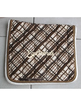 Tapis de selle Rg Italy - Ecossais marron bord blanc satiné