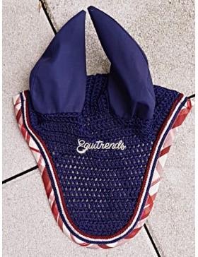 Bonnet anti-mouches Rg Italy - Marine bord écossais bordeaux