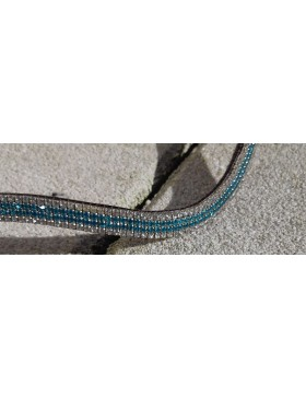 Frontal strass blanc et turquoise